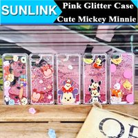 apple mouse pc - Pink Dynamic Quicksand Liquid Glitter Star Case Cute Cartoon Mickey Minnie Mouse Back Cover for iPhone s Plus Hard PC Shell