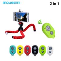 Wholesale 2 Car Phone Holder Wireless Bluetooth Timer Remote Shutter Button with Flexible Octopus Tripod Bracket Selfie Stand Mount Car