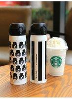 al por mayor chicas de metal negro-Starbucks Alice Olivia aislados taza Lady cabeza rayas negro blanco Taza de vacío de acero inoxidable Taza de acompañamiento de regalo para las niñas