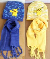 Wholesale Soft Pikachu Hat - New Poke Mon Winter Warm Cartoon Hat Scarf Set For Kids Knitted Poke Pikachu Soft Warm Beanie Cap Long Scrarves For Baby 3-10 years Kids