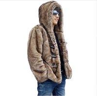 achat en gros de bouton de fourrure de vison-2017 Hommes d'hiver Faux Mink Hooded manteaux de fourrure artificielle Homme Horn Button fourrure Vêtements Casual Plus Veste de fourrure de taille 4XL 5XL