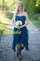 La dama de honor del país viste cortocircuito barato caliente para los vestidos de honor de la criada del partido de las colmenas del cordón de la playa de la gasa del trullo del cordón de la boda