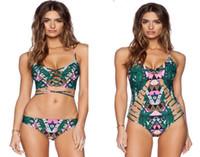 Traje de baño floral atractivo caliente del bikiní para el europeo de las mujeres un traje de baño de dos pedazos empuja hacia arriba el vendaje traje de baño rellenado verde de los trajes de baño de la playa de los trajes de la playa