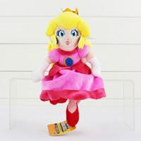 achat en gros de princess peach poupée trucs jouet-Grossiste- Super Mario Bros Lovely Peluche Toys Princess Toadstool Peach Soft Stuffed Dolls Cadeaux d'anniversaire pour les filles 8.7