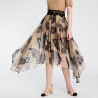 al por mayor estampado animal tul-Falda de tul de Eagle impreso de mujer - Falda de falda asimétrica elegante de alta cintura de la señora