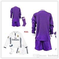 Wholesale 16 long Sleeve Children s soccer child kit coat trousers socks Benzema Real Madrid children shirt RONALDO Short sleeve shirt