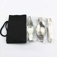 Wholesale APG Portable Folding Spoon Fork in Camping Survival Set Outdoor Camping Picnic Tableware with Bag