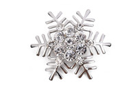 Unisex anniversary material - Set auger Christmas snowflake brooch corsage Christmas gift alloy material accessories