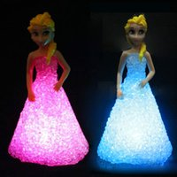 Figure No Yes Wholesale- Girl gift LED night Lights Kids Toy frozen gradient crystal princess lights dream bedroom decoration children battery abajur