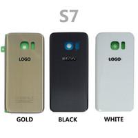 Precio de Envío libre del iphone de la manzana-Cubierta de cristal CaseLogo + Sticker, cubierta de la cubierta de la batería de la puerta de la batería del cristal del borde G935 del galaxia S7 G930 S7 de Samsung de la galaxia S7 G935 DHL