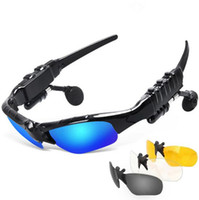 Wholesale Sunglasses Bluetooth Headset Outdoor Sports Glasses Earbuds Music with Mic Stereo Wireless Headphone for iPhone Samsung xiaomi Redmi