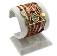 Harry Potter Reliques de la mort Bracelets Hommes Owl hiboux Charm Infinity Multilayer Braided Bracelet PU cuir Moven Chaînes Bijoux