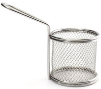 Wholesale Novelty Kitchen Cooking Tools Mini Stainless Steel French Fries Net Fry Fryer Basket Small Round Net x8x7 cm LLFA