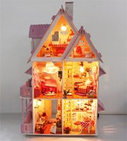 Wholesale Doll house with furniture Handmade wooden house diy birthday gifts D puzzles for adults and lovers dream house children