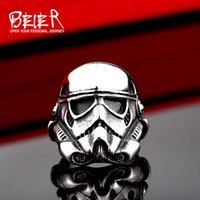 Band Rings asian gifts store - Beier new store L Stainless Steel ring top quality New Star Wars storm trooper Mask ring fashion jewelry BR8