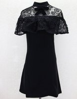 Wholesale Hot Selling Self Portrait dress Summer Black Lace Embroidery Hollow Out Cape Bustier Dress Short For