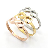 Cuff best friend symbols - Infinity Symbol Sign Bracelets For Women Letter Hand Thickness Infinite Hollow Silver Yellow Gold Cuff Bangles Best Friend