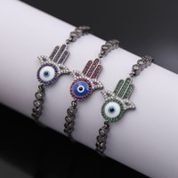 Wholesale 2016 fashion jewelry k gold plated copper evil eye hand rhinestone candy bracelets for women the best gift