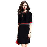 Night Out & Club Autumn A-Line Wholesale- Women Sexy Black Casual Slim Half Sleeve Vintage Knitted Sweater Dress With Bowtie Collar Pencil Midi Work Wear Office Dress