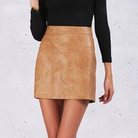 Wholesale Winter high waist classic faux leather skirt Chic slim bodycon pencil skirts Casual autumn black short skirt
