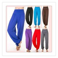 Wholesale 2016 Hot Lady Yoga Pants Womens Modal Cotton Soft Yoga Sports Dance Harem Pants Belly Dance Yaga Wide Pants Trousers