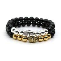b head set - Black Onyx Agate Natural Stone Beads Charm with Antique Silver Palted Buddhism Buddha Head Bracelet Men Jewelry B