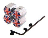 Revisiones Casquillo bretaña-1 Juego de tapas antirrobo de la válvula del neumático Logotipo de la bandera del Reino Unido Logotipo de la bandera nacional de Gran Bretaña Seguridad Auto Válvula Cubiertas del vástago Partes del coche