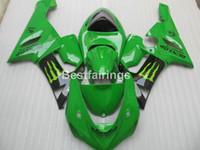 achat en gros de plastiques zx6r-Kit de carénage en plastique pour Kawasaki Ninja ZX6R 05 06 carénage noir vert set ZX6R 2005 2006 ZM08