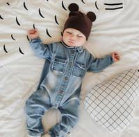 achat en gros de bébé girafe barboteuse-2017 Hot Denim Jeans Baby Boys Romper Giraffe Rainbow Print Enfant Nouveau-né Jumpsuit Boy Girls Cowboy Vêtements pour enfants JM461