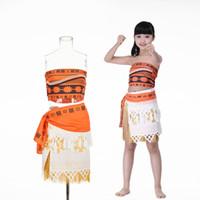Wholesale women kids movie Moana princess dress cosplay costume skirt christmas party