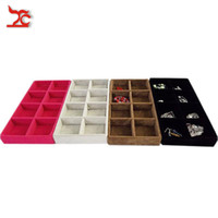 bead storage tray - Portable Jewelry Store Case Grey Black Rose Red Brown Color Available Velvet Grid Earring Ring Bead Organizer Storage Tray