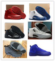Mid Cut Men Spring and Fall 2017 retro 12 XII Basketball Shoes men women 12s The Master Gym Red Taxi Playoffs 12 gamma french blue sneaker leather sport shoes