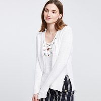 american basic - 2016112132 New Fashion Solid White Long Sleeve Bottom Splite V Neck Sweatshirt Casual Basic Tied Neck Sweatshirts