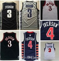 Wholesale A Top Quality Allen Iverson Basketball Jerseys Double Stitched White Black S XXL Iverson Jersey Embroidery Logos Sportswea