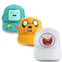 achat en gros de figurines de temps d'aventure-Adventure Time avec Finn et Jake figure d'action jouets Cosplay BMO Casquette de baseball réglable Cute Cartoon Sun Hat pour les enfants Garçons