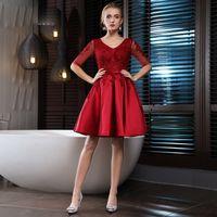 al por mayor vestidos de dama de honor de raso de color rojo oscuro-Vestidos de dama de honor de color rojo oscuro satinado elegante vestidos de fiesta de la boda V-cuello medio vestidos de dama de satén de dama de honor baratos