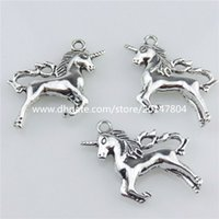 asian unicorn - 20673 X Vintage Silver Alloy mm Myth Aniaml Unicorn Pendant Jewelry Findings