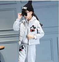 Wholesale 2016 kids girls with cashmere sweater suit thickened Mickey Mouse picture version in Korean children winter girl three piece