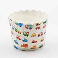 Wholesale high quality bag colorful cars truck bus muffin liner cases for Birthday wedding Party Baking paper cake cup