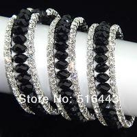 Las pulseras estiradas de los brazaletes de los encantos de las pulseras de los Rhinestones checos cristalinos negros de los encantos 6pcs 3rows venden al por mayor la joyería A-700 de la manera