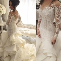 Wholesale Arabic Long Sleeves Wedding Dresses Sheer Neck Organza And Lace Bridal Dress Tiers Sexy Back Covered Button Wedding Gowns Vestidos