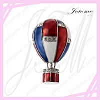 balloon brooch - 100PCS Hot Sale American Flag patriotic hot air balloon Crystal Pin Brooch Usa Flag Clutch Pins For Patriotic