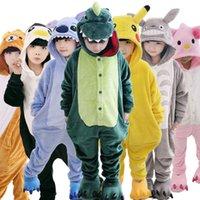 Wholesale Children Kids Flannel Animal Pajamas Anime Cartoon Costumes Sleepwear Cosplay Onesie Unicorn Panda Stitch Giraffe Tiger