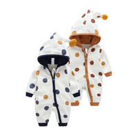 baby onesie lot new - New Autumn Winter Baby Romper Dot Print Hooded Jumpsuit Cotton Newborn Onesie Costume two Color