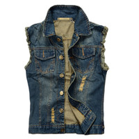 Wholesale JSEO Men Sleeveless Lapel Denim Vest Jacket Top Designed Denim Vests Unlined Waistcoat with Broken Holes