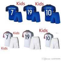Cheap `` 16 17 France National team Kids Soccer Kits 2016 European Cup France Children football set 2017 POGBA GRRIEZMANN MATUIDI Youth uniform