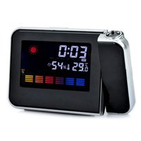 Wholesale Desktop Digital LCD LED Projection projector Alarm Clock Calendar Weather Forecast Station Humidity clock Backlight New