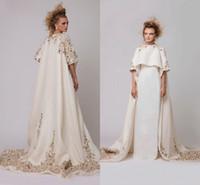 beaded applique patterns - Arabic Coloful Applique Beads Short Sleeve Prom Dresses New Design Cape Style Sweep Train Evening Gowns Dubai White Satin Vestidos