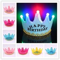 Wholesale Crown Hat LED Happy Birthday Hat Cap Children Adults Colorful King Princess Luminous LED Light Cap Hat Christmas Party Hats Flash Hat