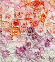 10x10ft rose violet corail roses crème studio de photographie arrière-plans nouveau-né bébé photo accessoires 3D fleurs mural toile de fond Photobooth